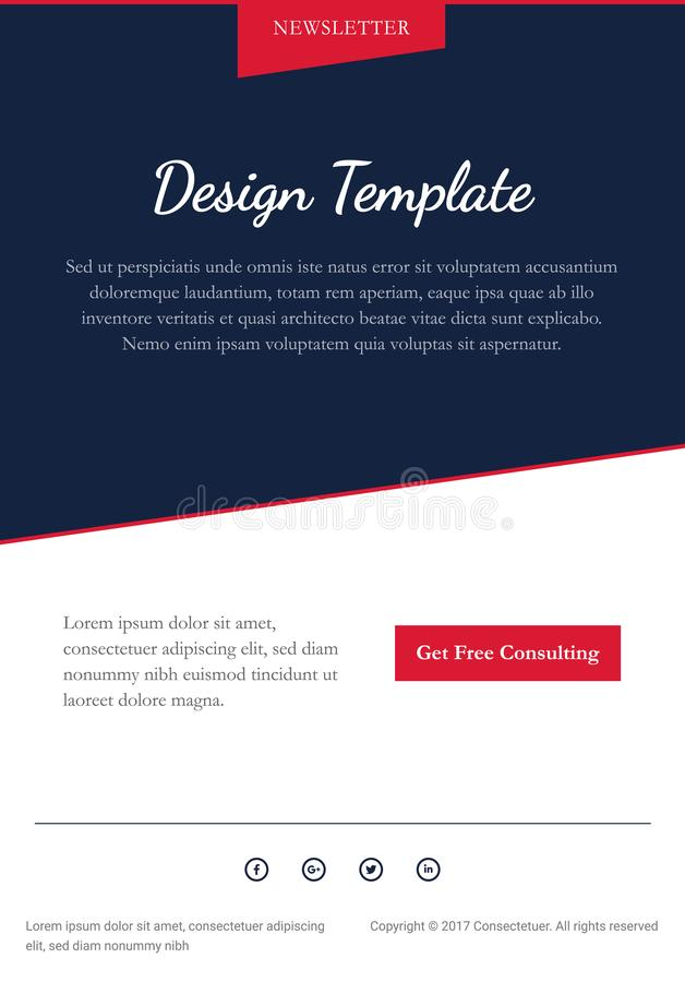 Email Newsletter Vector Design Template. Red and Blue color scheme royalty free illustration