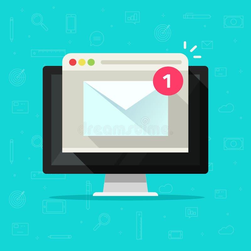 Email novo na ilustração do vetor do computador, computador de secretária liso dos desenhos animados, envelope do email com a not ilustração royalty free