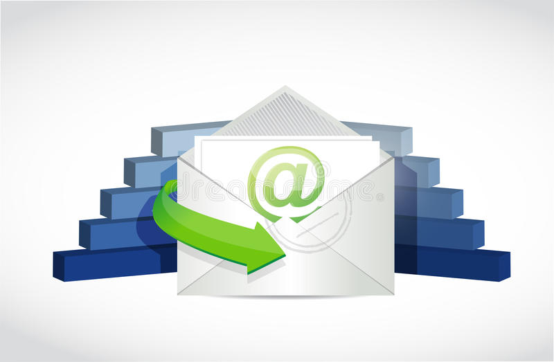 Email och design för illustration för affärsgrafer stock illustrationer