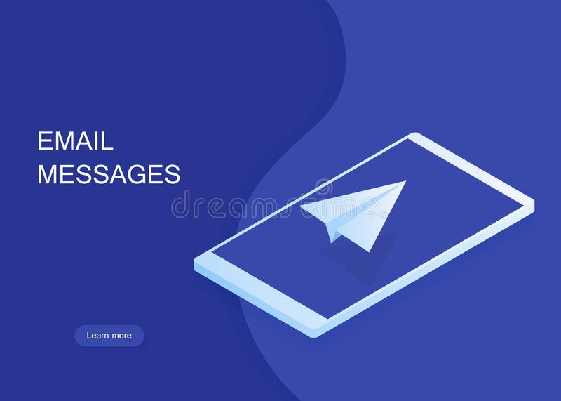 Email och meddelande som överför begreppet, isometrisk pappers- nivå på telefonskärmen, online-marknadsföring som postar banret royaltyfri illustrationer