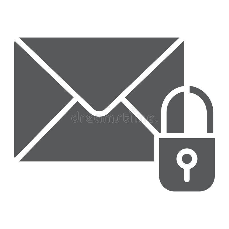 Email ochrony glifu ikona, poczta i ochrona, koperta znak, wektorowe grafika, bryła wzór na białym tle ilustracja wektor