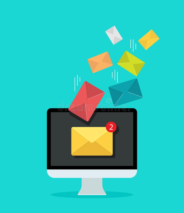 Free Email On Computer Screen For Marketing. Newsletter In Mail Inbox. Icon Of Send Or Receive Message. Notification Letter In Mailbox Royalty Free Stock Images - 200768359