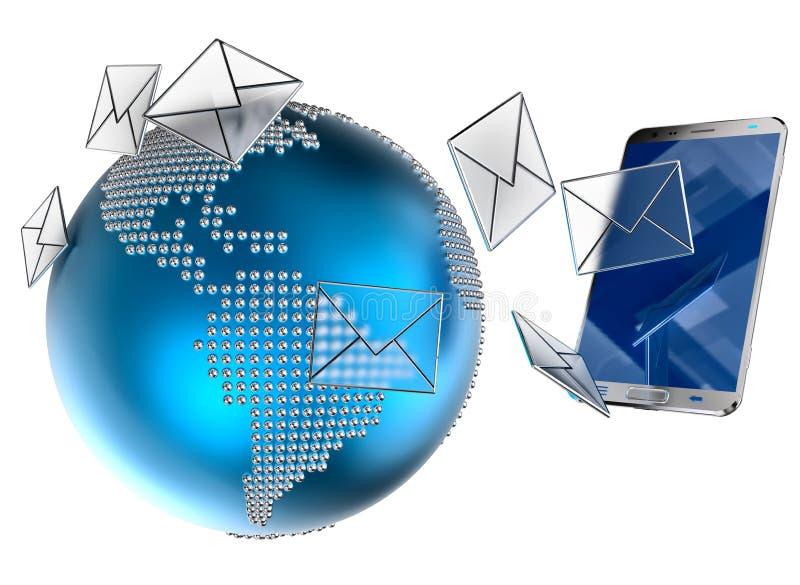 Email ou sms enviado ao telefone celular ilustração stock