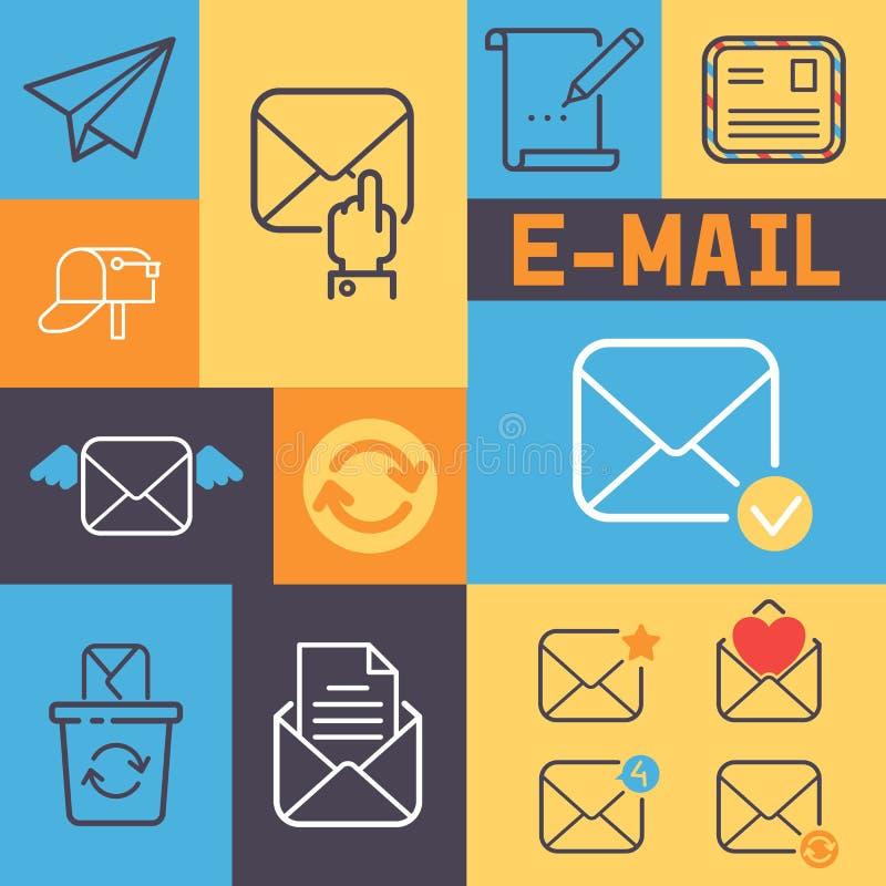 Email outline icons banner vector illustration. Cartoon mail elements letter, envelope, stamp, post box, package, pencil. Paper plane sign. Reloading, received stock illustration