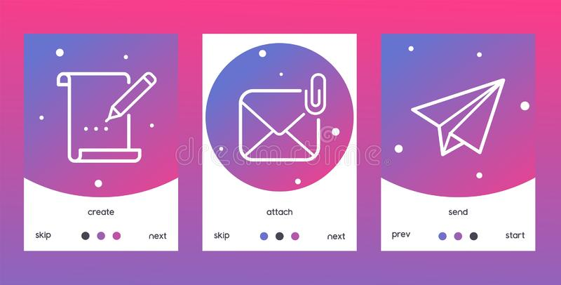 Email outline icons set o posters, banners vector illustration. Creat sign with pencil writing on paper, attach envelope. With clip, send icon with paper plane royalty free illustration