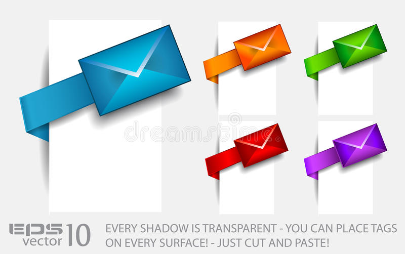 Download Email Paper Tag With Transparent Shadows. Stock Vector - Illustration: 19782306