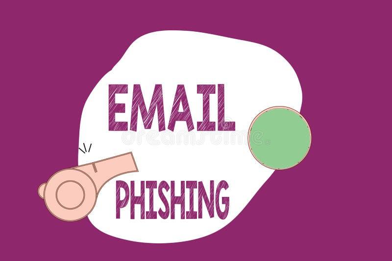 Email Phishing d'écriture des textes d'écriture Emails de signification de concept qui peuvent lier aux sites Web qui distribuent illustration de vecteur