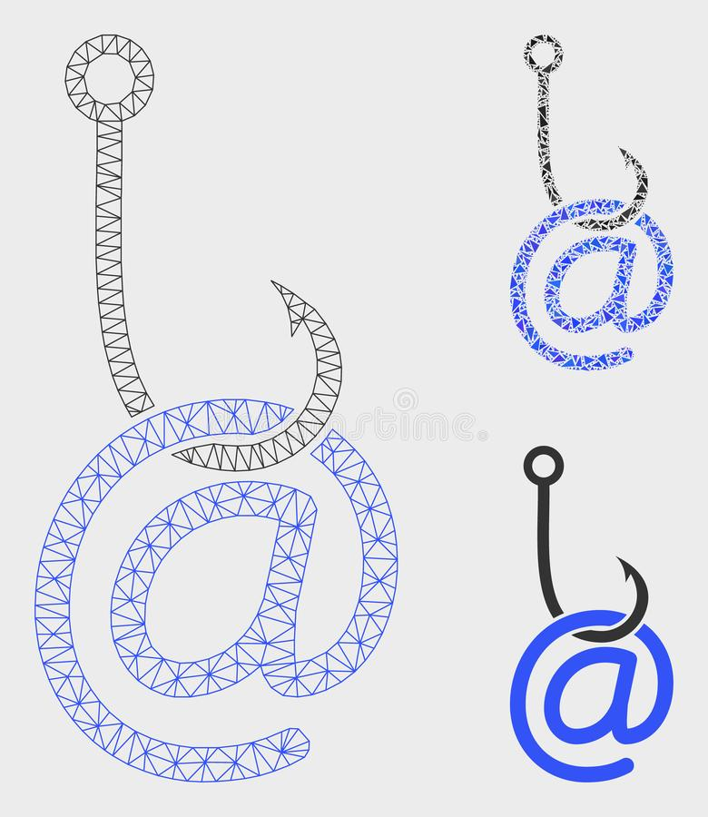 Email Phishing Malware Vector Mesh Network Model and Triangle Mosaic Icon vector illustration