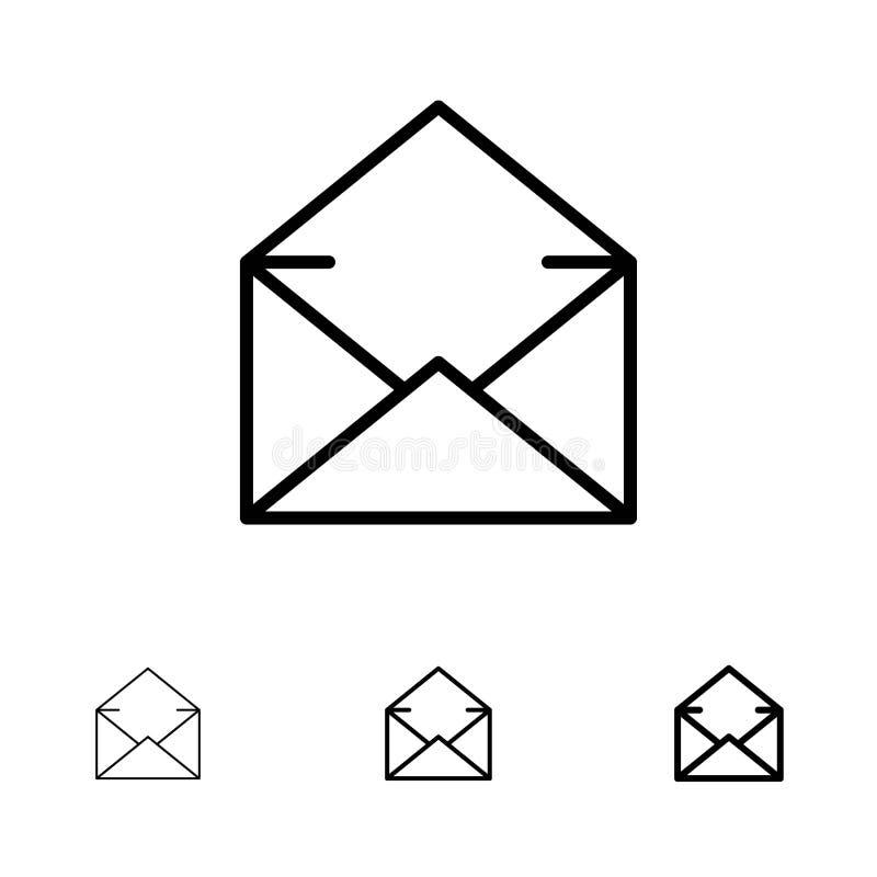 Email, poczta, wiadomość, Otwarty czerni linii ikony set, Śmiały i cienki royalty ilustracja