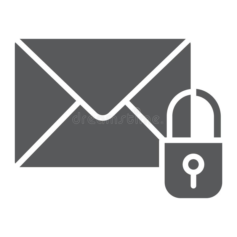 Email protection glyph icon, mail and security, envelope sign, vector graphics, a solid pattern on a white background. Email protection glyph icon, mail and vector illustration