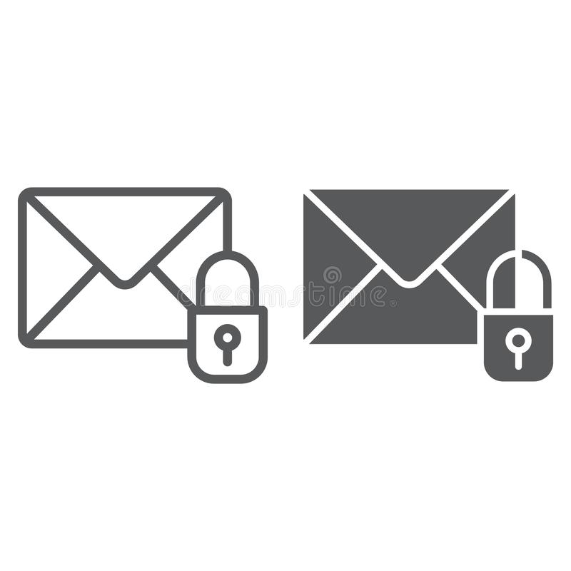 Email protection line and glyph icon, mail and security, envelope sign, vector graphics, a linear pattern on a white. Background, eps 10 vector illustration