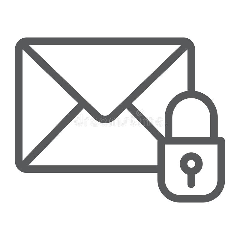 Email protection line icon, mail and security, envelope sign, vector graphics, a linear pattern on a white background. Email protection line icon, mail and vector illustration