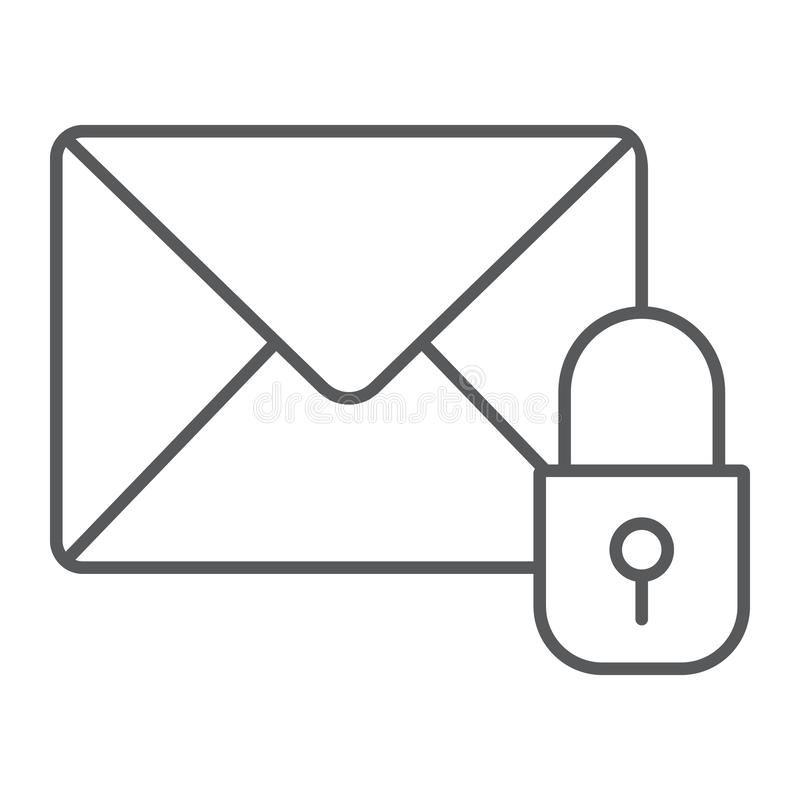 Email protection thin line icon, mail and security, envelope sign, vector graphics, a linear pattern on a white. Background, eps 10 royalty free illustration
