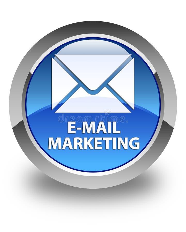 Email que comercializa el botón redondo azul brillante stock de ilustración