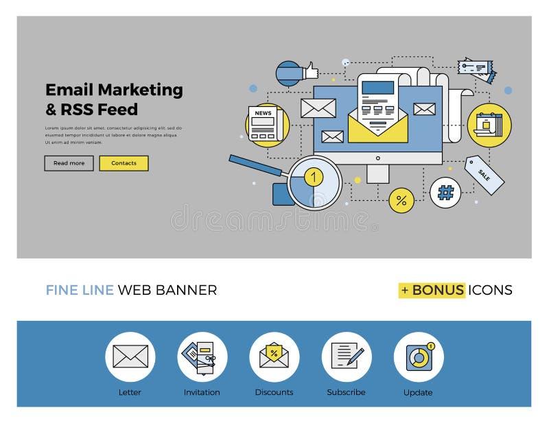 Email que comercializa la línea plana bandera stock de ilustración