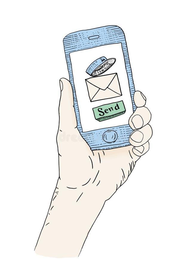 Email que introduz no mercado o app ilustração do vetor
