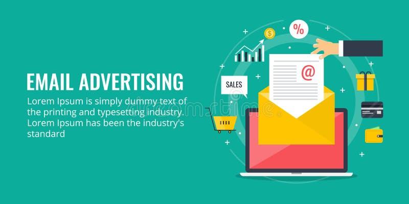 Email reklama - nowożytny emaila pojęcie Płaski projekt ilustracji