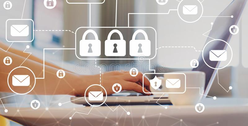 Email säkerhetstemat med kvinnan som använder en bärbar dator royaltyfria bilder