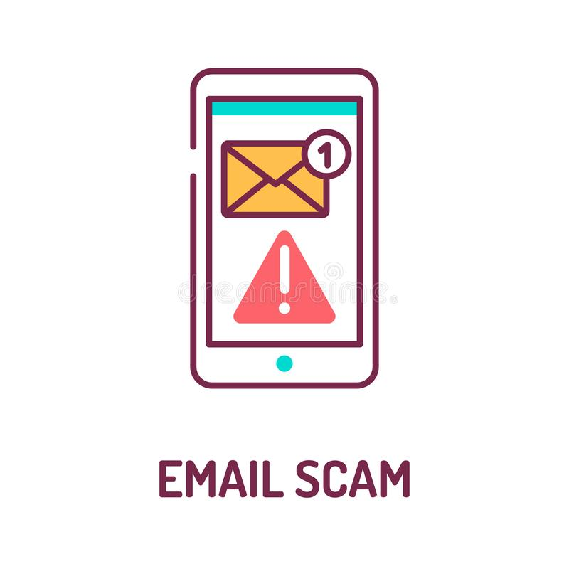 Email scam color line icon on white background. Web fraud. Mailing of letters. Spamming attack. Pictogram for web page, mobile app royalty free illustration