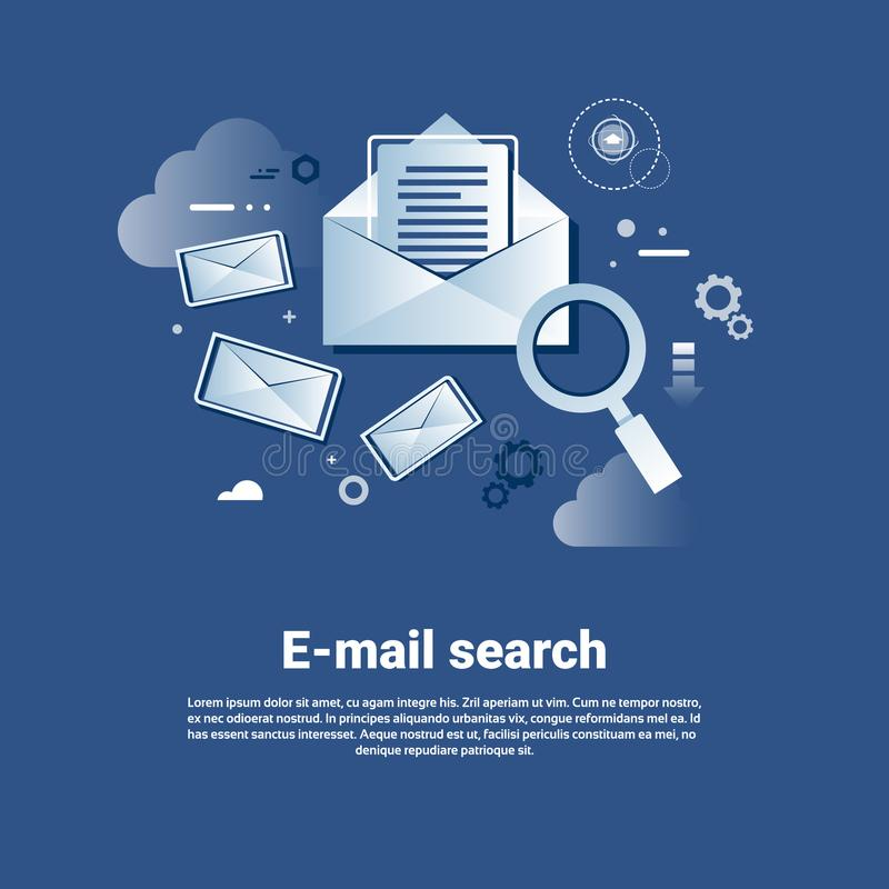 Email Search Template Web Banner With Copy Space stock illustration
