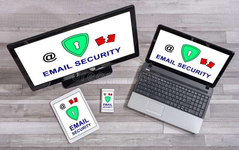Email security concept on different devices royalty free stock image