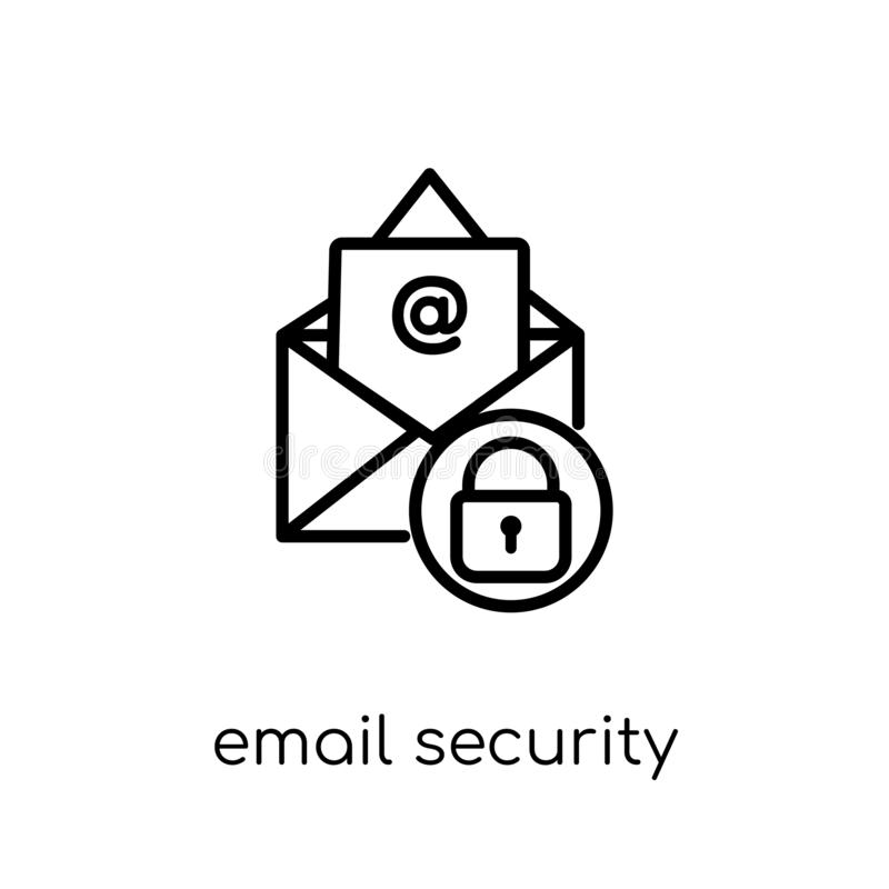 Email security icon. Trendy modern flat linear vector Email security icon on white background from thin line Internet Security stock illustration