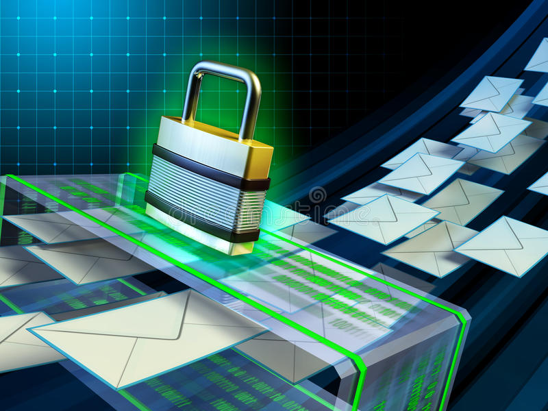 Email security. Email stream passing through a security scanner. Digital illustration stock illustration