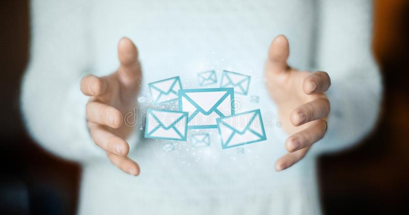 Email on hands, post cards or connection concept. Email, send a mail, hands stock images