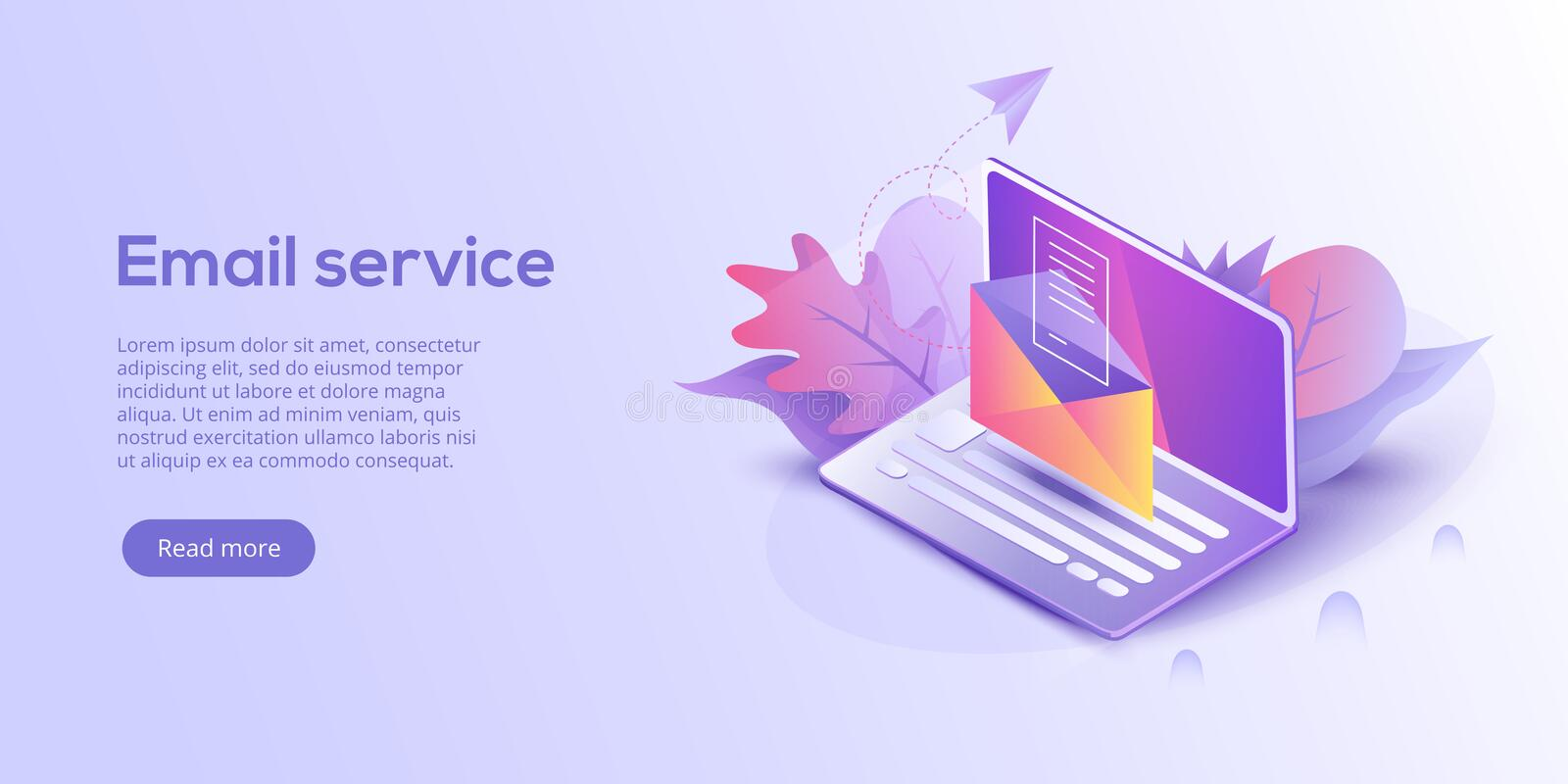 Email service isometric vector illustration. Electronic mail mes stock illustration