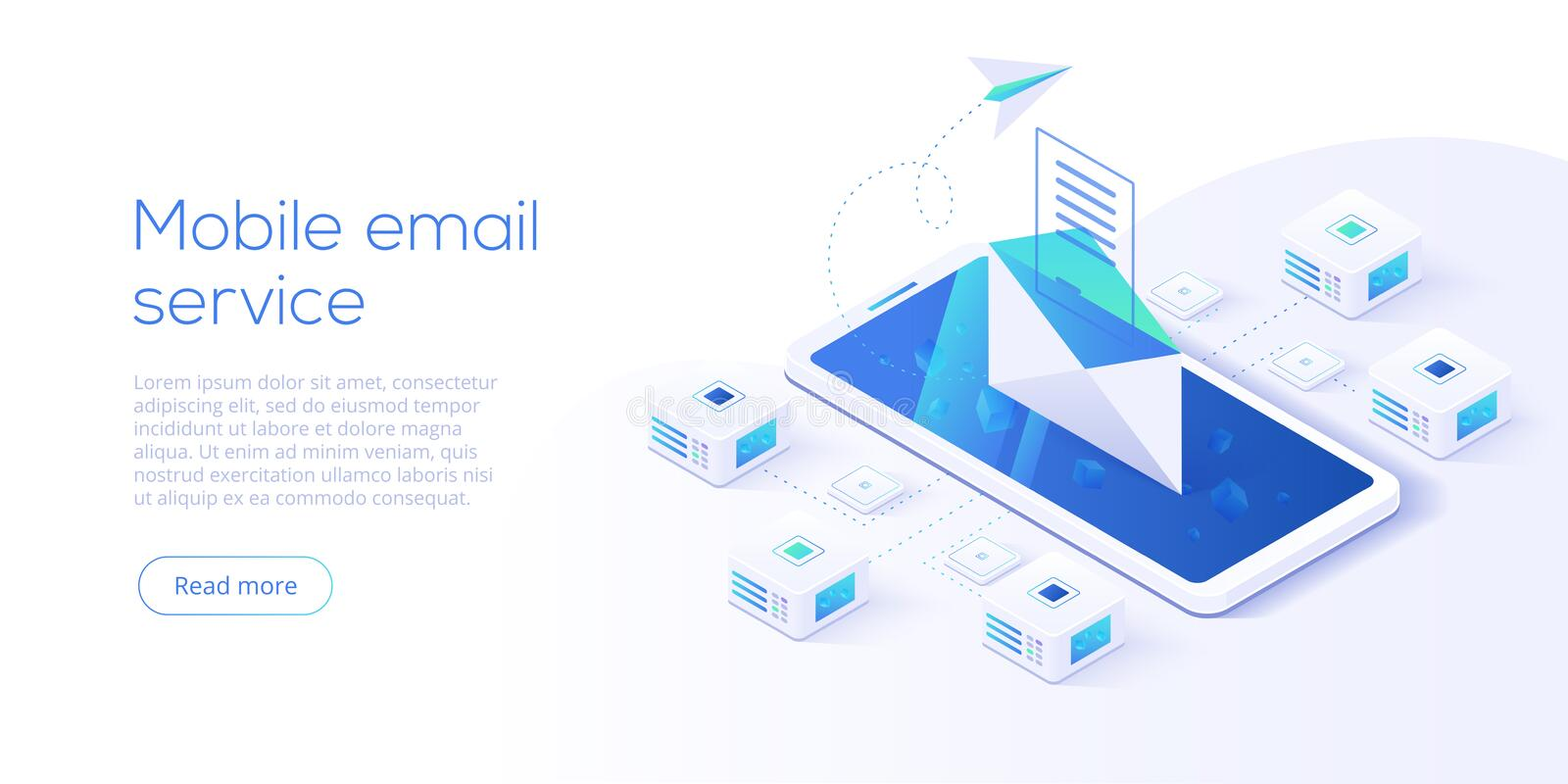 Email service isometric vector illustration. Electronic mail mes royalty free illustration