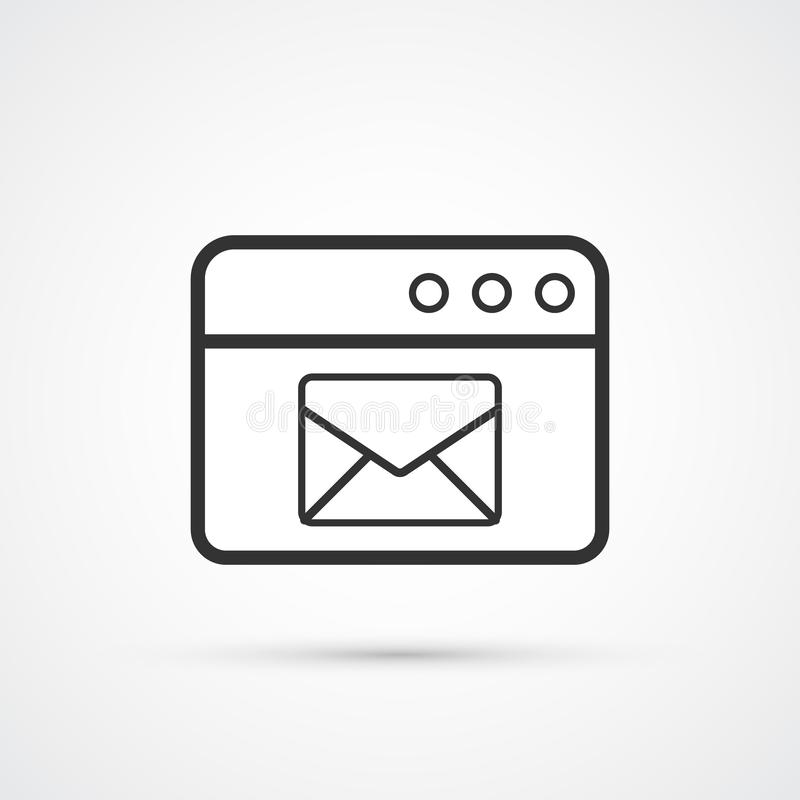 Email service flat line trendy black icon. Vector eps10 royalty free illustration