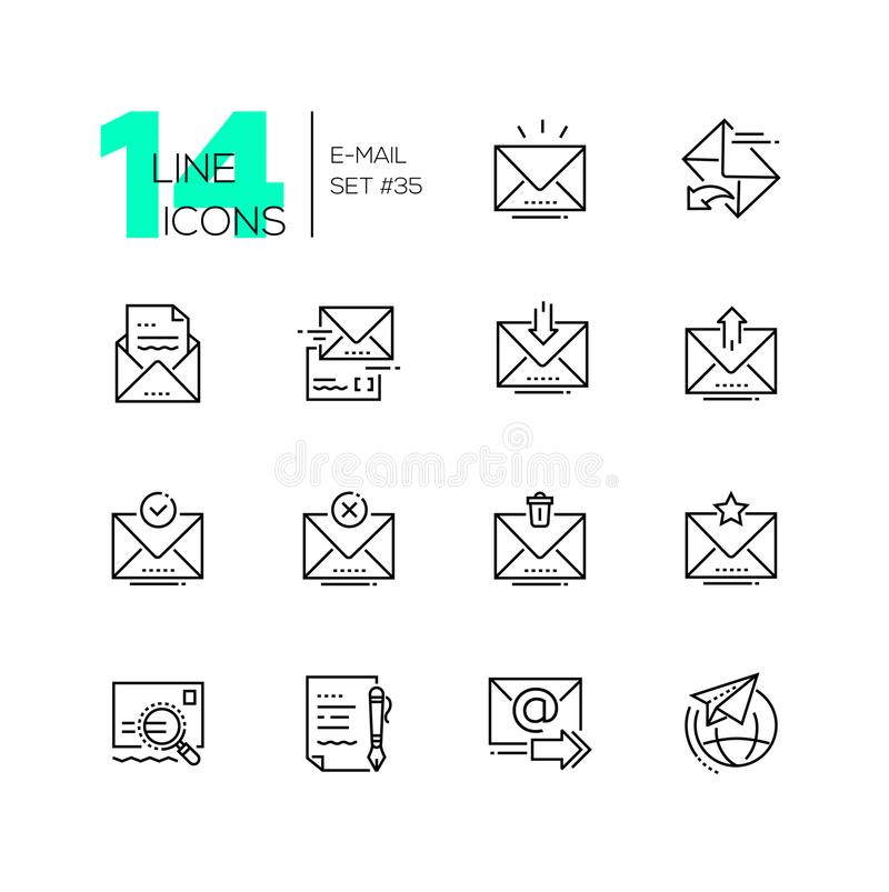 Email - set of line design style icons stock illustration
