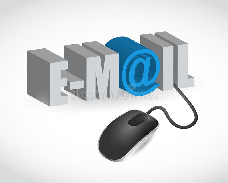 Email sign and mouse illustration. Design over white vector illustration
