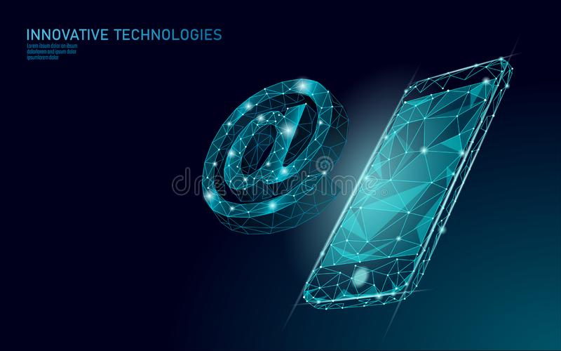 At email social media sign. Low poly 3D polygonal at symbol notification in messenger personal appeal. Online. Communication web message mobile smartphone mail vector illustration