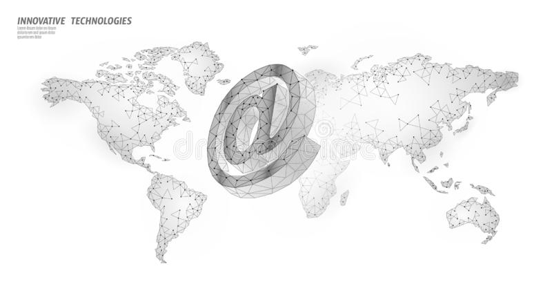 At email social media sign. Low poly 3D polygonal at symbol notification in messenger personal appeal. Online. Communication web message mobile global world map vector illustration