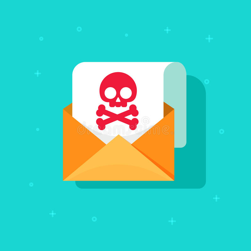 Email spam icon idea, scam e-mail message concept, malware alert received, internet hacking message, online phishing stock illustration
