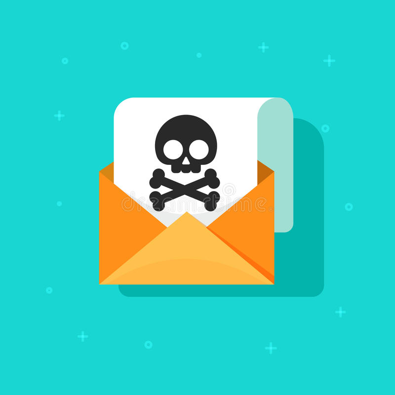 Email spam icon vector, scam e-mail message concept, malware alert received. Internet hacking message, online phishing, open envelope with black skull bones on royalty free illustration
