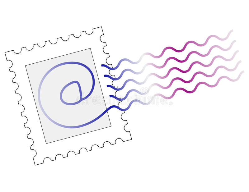 Email stamp mark. @ symbol stamp to represent email