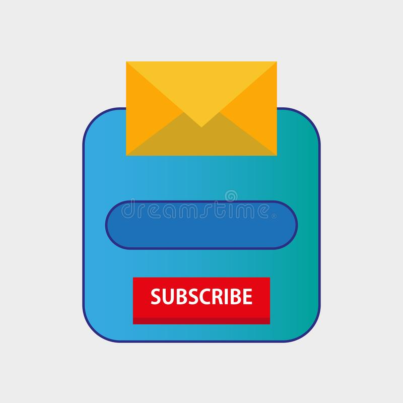 Email subscribe newsletter popup form template online. Marketing icon button icon design. Web subscription website envelope mail. royalty free illustration