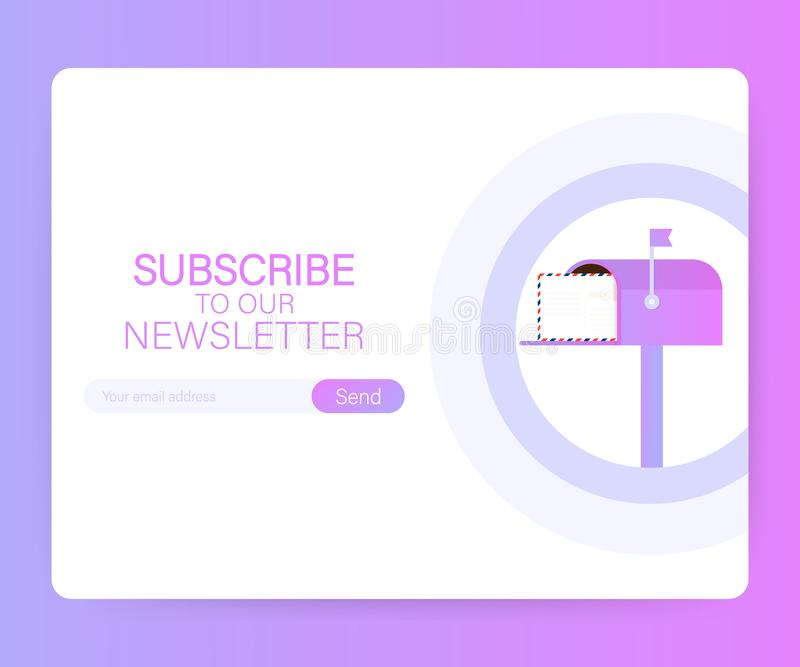 Email subscribe, online newsletter vector template with mailbox and submit button on laptop screen. Vector illustration. Email subscribe, online newsletter vector illustration