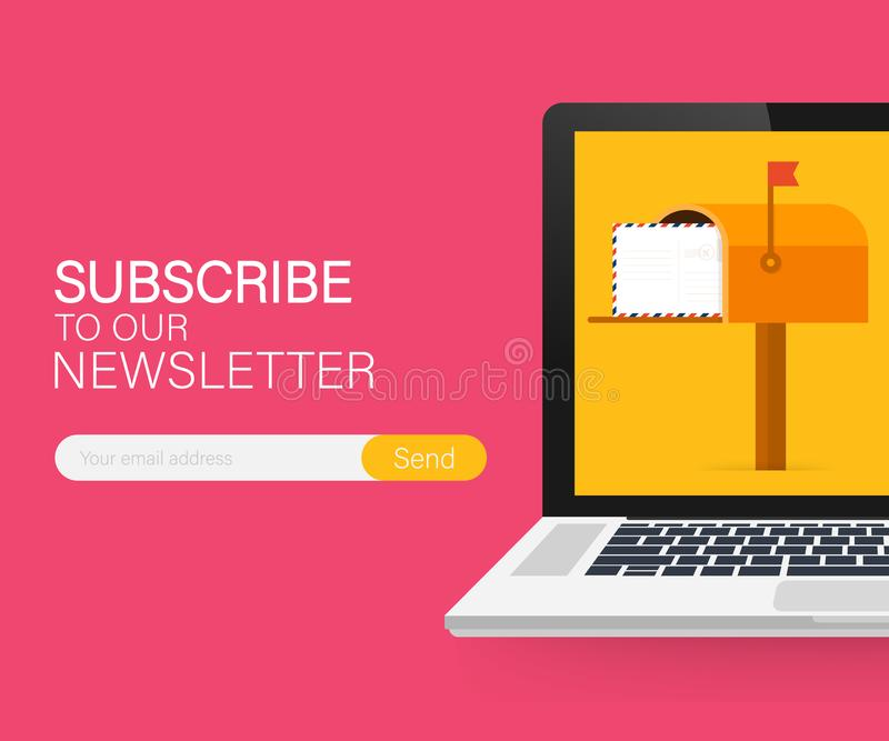 Email subscribe, online newsletter vector template with mailbox and submit button on laptop screen. Vector stock illustration vector illustration