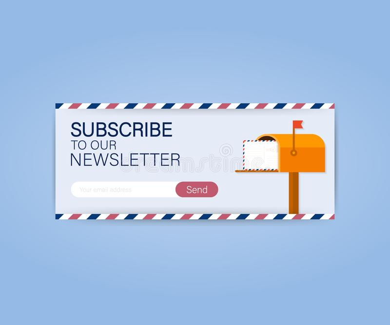 Email subscribe, online newsletter vector template with mailbox and submit button. Vector illustration. Email subscribe, online newsletter vector template with vector illustration