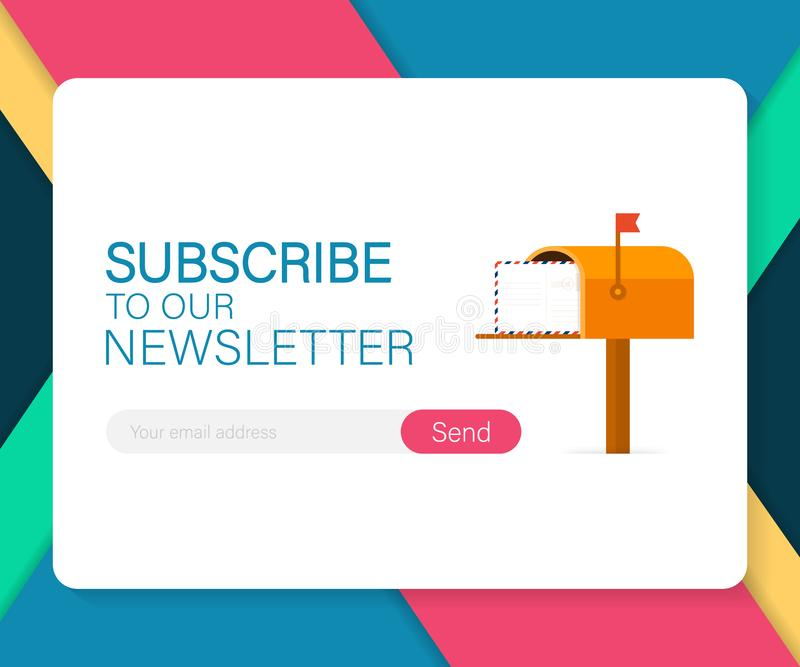 Email subscribe, online newsletter vector template with mailbox and submit button. Vector illustration. Email subscribe, online newsletter vector template with stock illustration
