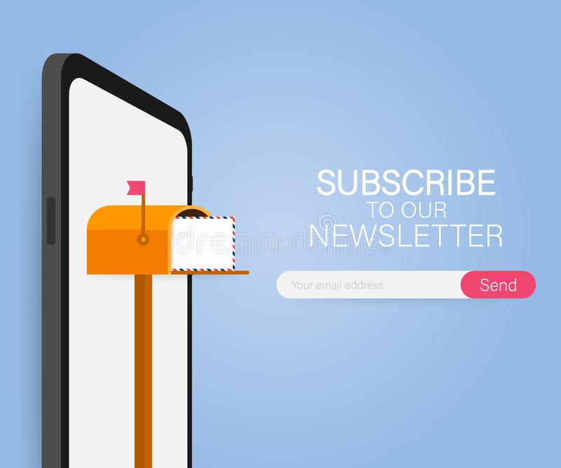 Email subscribe, online newsletter vector template with mailbox and submit button. Vector illustration. royalty free illustration