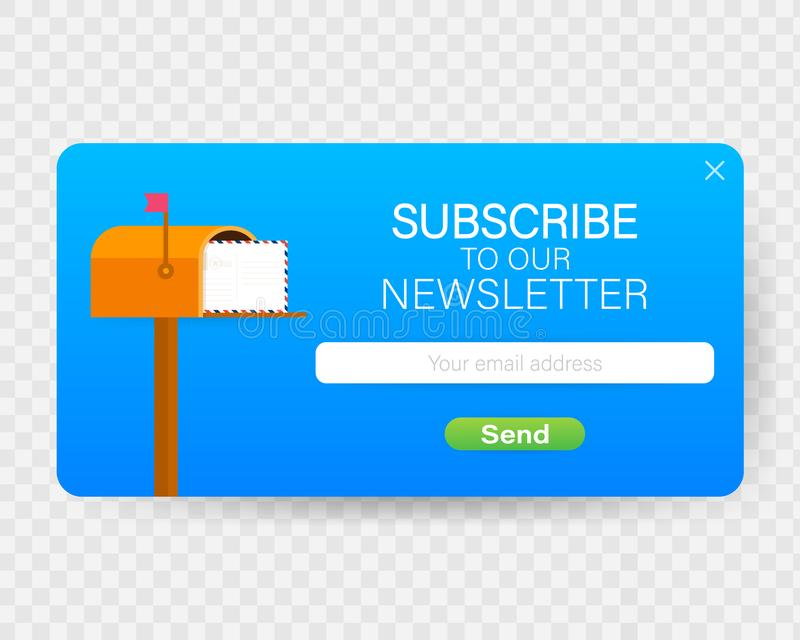 Email subscribe, online newsletter vector template with mailbox and submit button. Vector stock illustration. Email subscribe, online newsletter vector template royalty free illustration