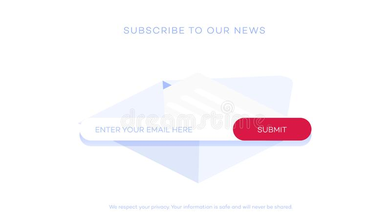 Email subscribe to latest news. Website element with e-mail subscribition form. stock illustration