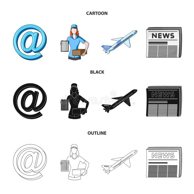 Email symbol, courier with parcel, postal airplane, pack of newspapers.Mail and postman set collection icons in cartoon. Black,outline style vector symbol stock stock illustration