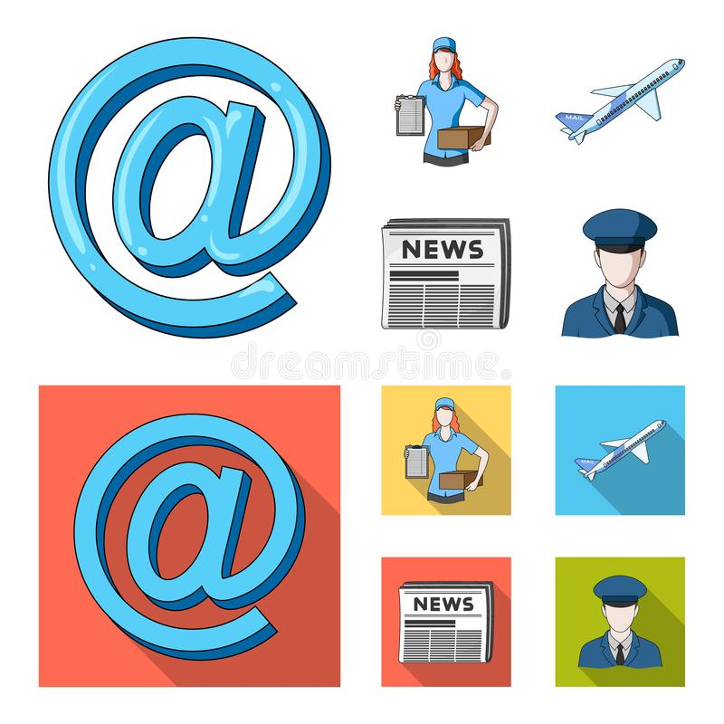 Email symbol, courier with parcel, postal airplane, pack of newspapers.Mail and postman set collection icons in cartoon. Flat style vector symbol stock royalty free illustration