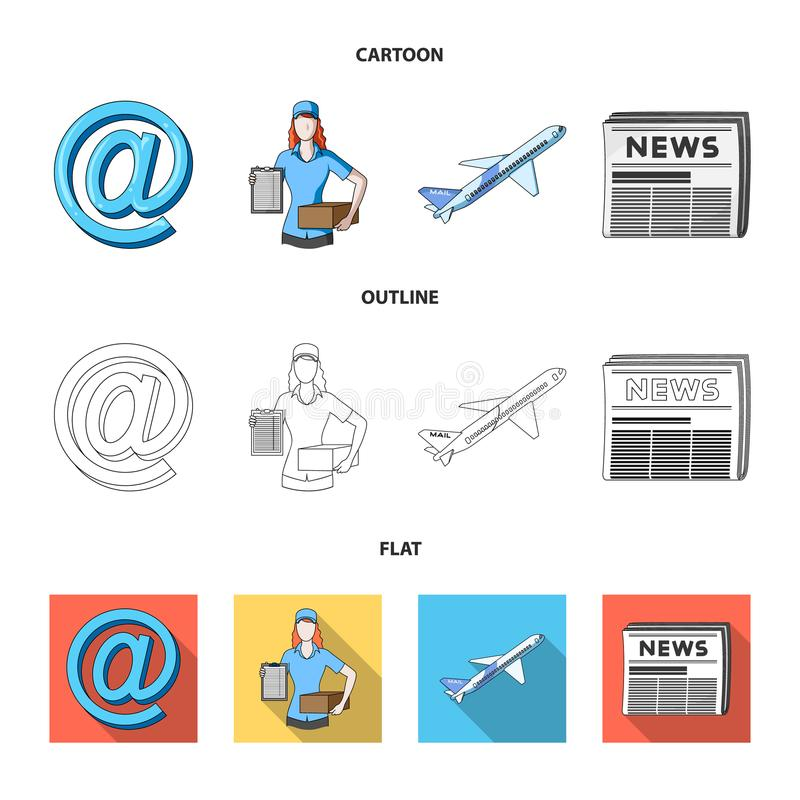 Email symbol, courier with parcel, postal airplane, pack of newspapers.Mail and postman set collection icons in cartoon. Outline,flat style vector symbol stock royalty free illustration