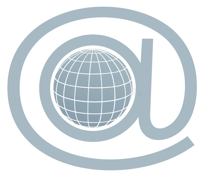 Email symbol / globe in at stock illustration